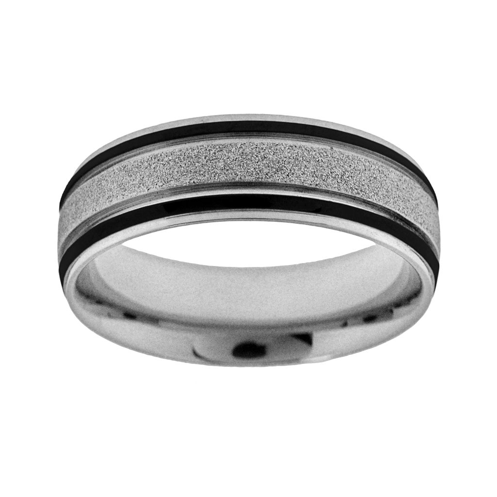 Stainless Steel & Black Immersion-Plated Stainless Steel Wedding Band - Men