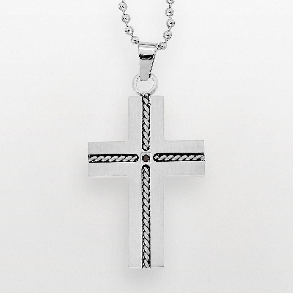 Stainless Steel Black Diamond Accent Cross Pendant - Men