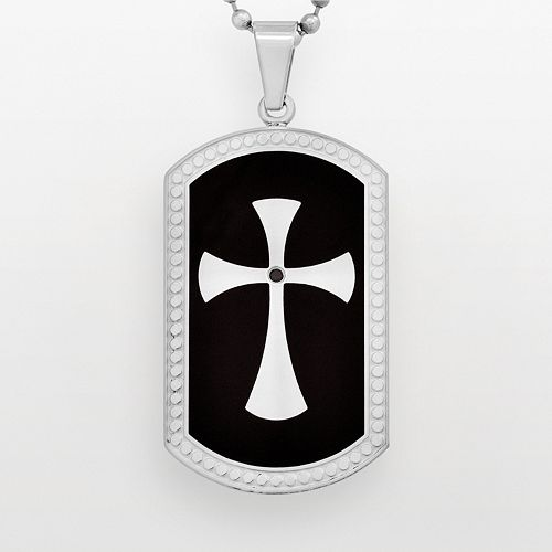 Stainless Steel & Black Immersion-Plated Stainless Steel Black Diamond Accent Cross Dog Tag - Men