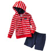 Carter's Striped Crab Hooded Cardigan and Pants Set - Baby