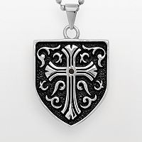 Stainless Steel & Black Immersion-Plated Stainless Steel Black Diamond Accent Cross & Shield Pendant - Men