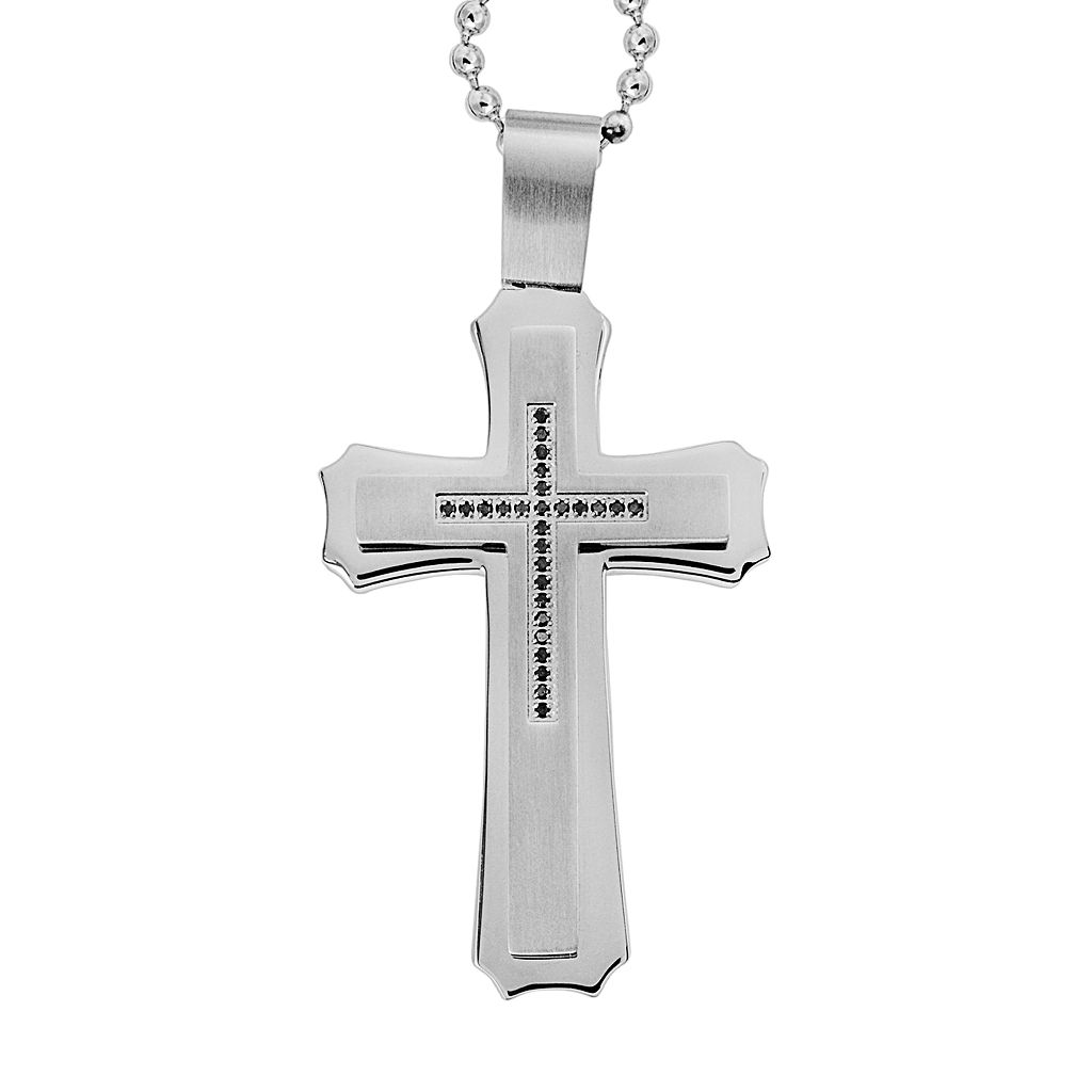 Stainless Steel 1/8-ct. T.W. Black Diamond Cross Pendant - Men