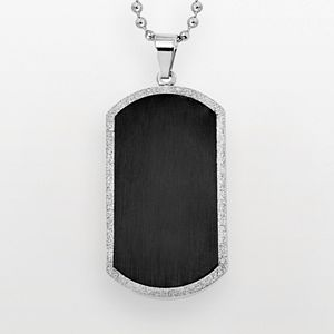 Stainless Steel and Black Immersion-Plated Stainless Steel Dog Tag - Men