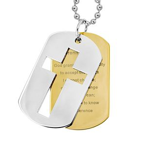 Stainless Steel and Gold Tone Immersion-Plated Stainless Steel Serenity Prayer Dog Tag - Men