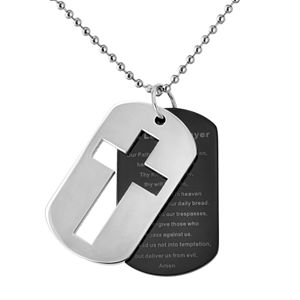 Stainless Steel and Black Immersion-Plated Stainless Steel Lord's Prayer Dog Tag - Men