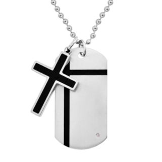 Stainless Steel and Black Immersion-Plated Stainless Steel Diamond Accent Cross Pendant and Dog Tag - Men