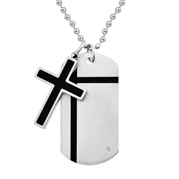 Stainless Steel & Black Immersion-Plated Stainless Steel Diamond Accent Cross Pendant & Dog Tag - Men