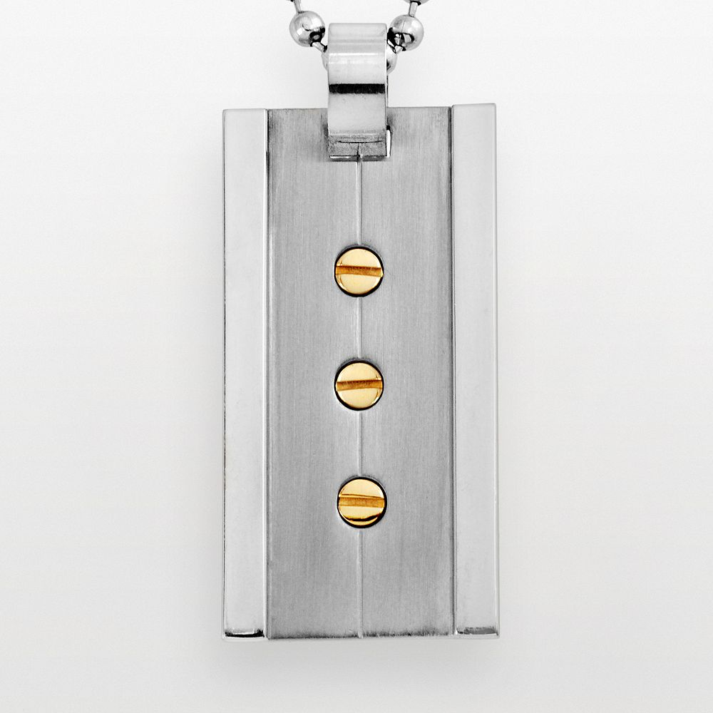 Stainless Steel & Yellow Immersion-Plated Stainless Steel Pendant - Men