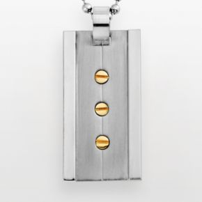 Stainless Steel and Yellow Immersion-Plated Stainless Steel Pendant - Men