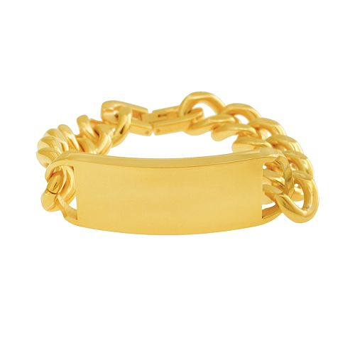Gold Tone Stainless Steel ID Bracelet