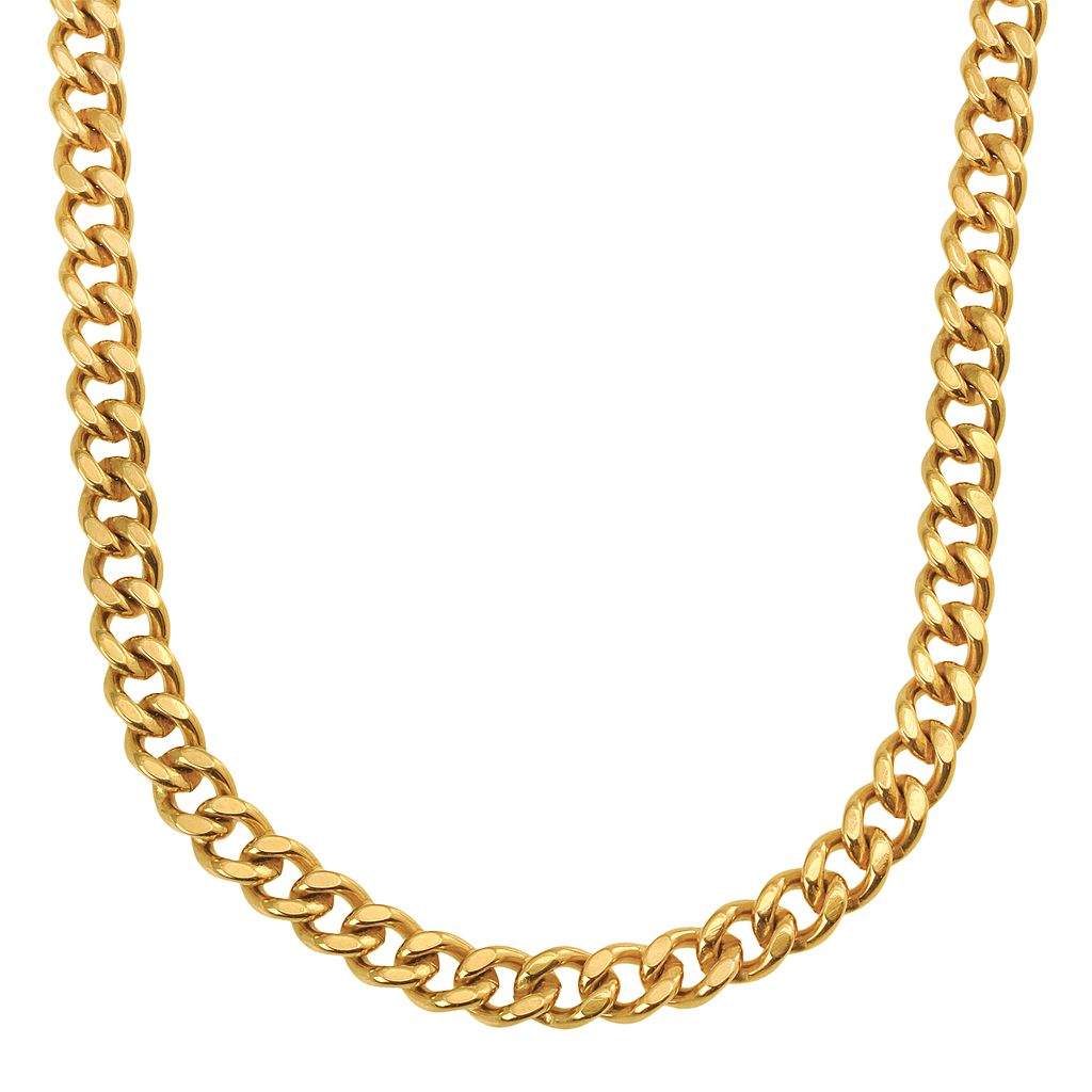 Yellow Immersion-Plated Stainless Steel Curb Chain Necklace - 24-in. - Men