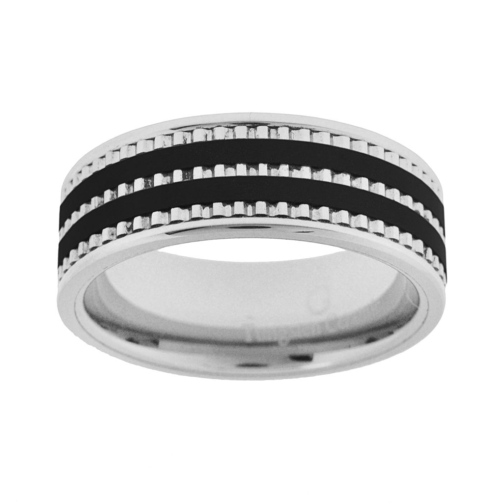 Tungsten & Black Ceramic Wedding Band - Men