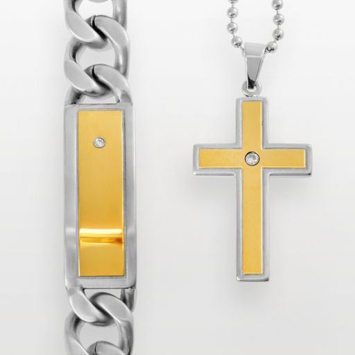 Stainless Steel and Yellow Immersion-Plated Stainless Steel Cubic Zirconia ID Bracelet and Cross Pendant Set
