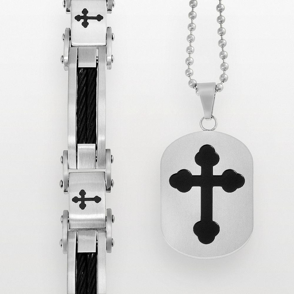 Stainless Steel & Black Immersion-Plated Stainless Steel Cross Bracelet & Dog Tag Set