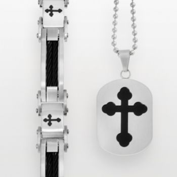 Stainless Steel and Black Immersion-Plated Stainless Steel Cross Bracelet and Dog Tag Set