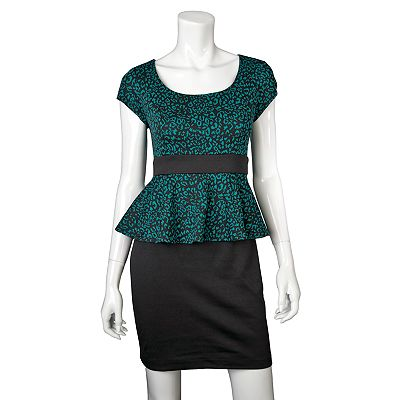 IZ Byer California Animal Peplum Dress - Juniors