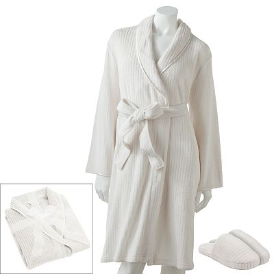 Croft and Barrow Plush Wrap Robe and Slippers Gift Set
