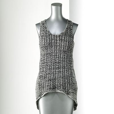 Simply Vera Vera Wang Melange Drop-Tail Hem Sweater