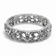 1928 Silver Tone Filigree Flower Stretch Bracelet