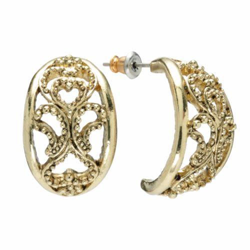 1928 Filigree Heart Semi-Hoop Earrings