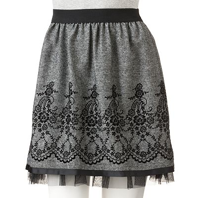 Joe Benbasset Embroidered Tweed Skirt - Juniors