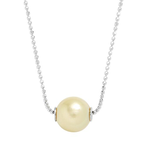 Sterling Silver Golden South Sea Cultured Pearl Pendant