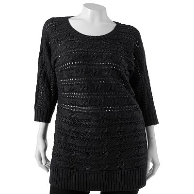 SO Openwork Lurex Tunic Sweater - Juniors' Plus