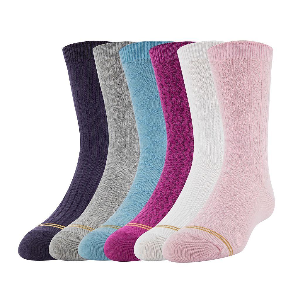 GOLDTOE® 6-pk. Textured Crew Socks - Girls