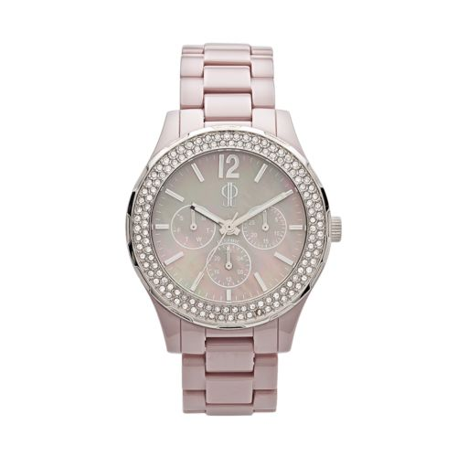 Jennifer Lopez Silver Tone and Gray Ceramic Mother-of-Pearl and Crystal Chronograph Watch - Women