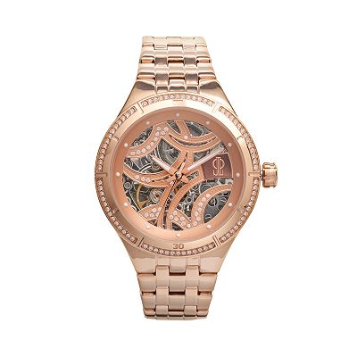 Jennifer Lopez Rose Gold Tone Stainless Steel Crystal Automatic Skeleton Watch - Women