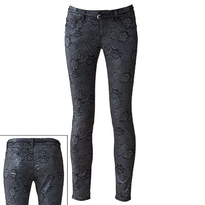 Tinseltown Silver Coated Floral Skinny Jeans - Juniors