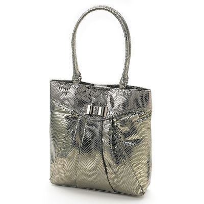 ELLE Isabelle Metallic Snakeskin Pleated Tote