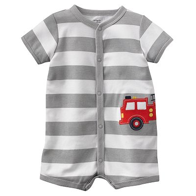 Carter's Fire Truck Striped Turn Me Around Creeper - Baby