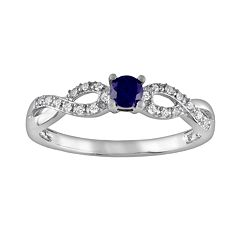 Stella Grace Sterling Silver Lab-Created Sapphire and Diamond Accent Infinity Ring