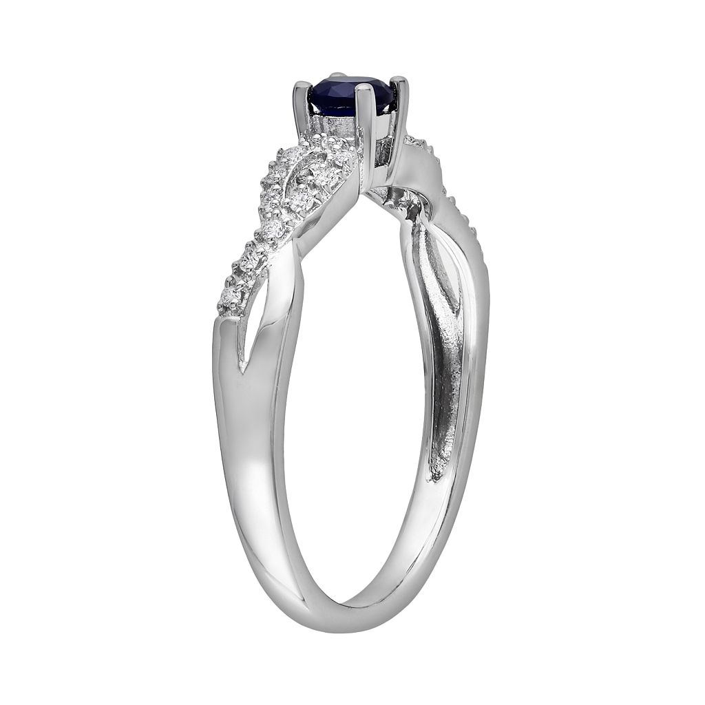 Sterling Silver Lab-Created Sapphire and Diamond Accent Infinity Ring