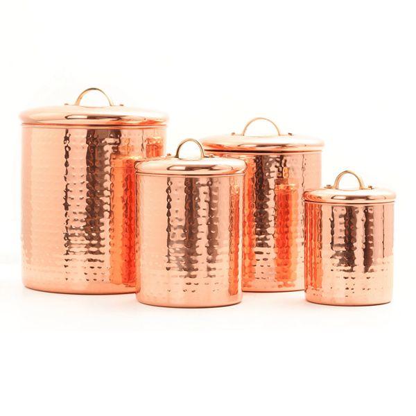 Old Dutch Hammered Copper 4 Pc Kitchen Canister Set