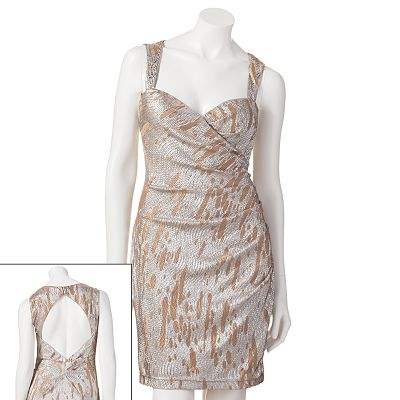 Hailey Logan Foil Open Back Dress - Juniors