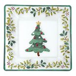 Pfaltzgraff Winterberry 14-in. Square Glass Christmas Serving Platter