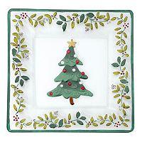 Pfaltzgraff Winterberry 14-in. Square Glass Christmas Serving Platter