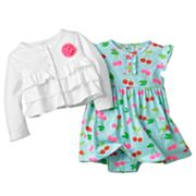 Carter's Cherry Bodysuit Dress and Cardigan Set - Baby