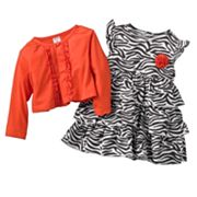 Carter's Zebra Bodysuit Dress and Cardigan Set - Baby