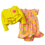 Carter's Lemon Bodysuit Dress and Cardigan Set - Baby