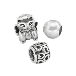 Individuality Beads Sterling Silver Cat, Openwork Heart and Spacer Bead Set