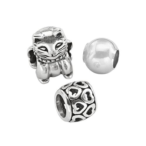 Individuality Beads Sterling Silver Cat, Openwork Heart & Spacer Bead Set