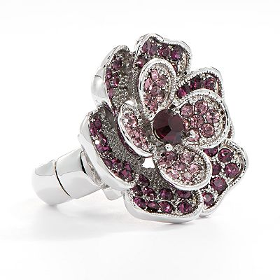 Apt. 9 Silver Tone Simulated Crystal Flower Stretch Ring