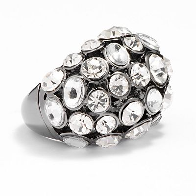 Apt. 9 Jet Simulated Crystal Dome Stretch Ring