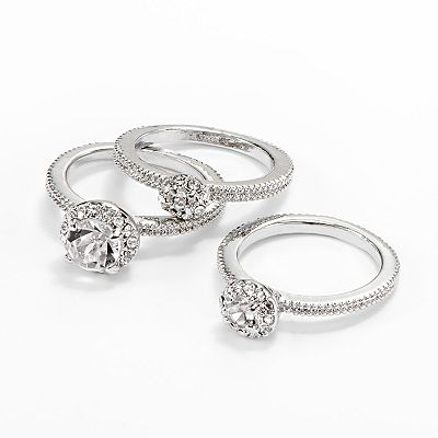 Apt. 9 Silver Tone Simulated Crystal Stack Ring Set
