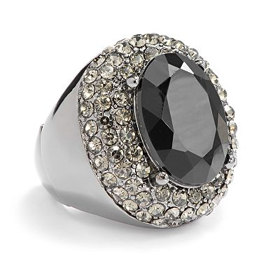 Apt. 9 Jet Simulated Crystal Stretch Ring