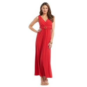 Chaps Ruched Surplice Maxi Dress