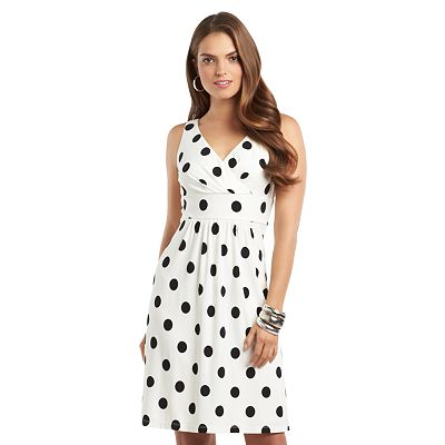 Chaps Polka-Dot Empire Dress